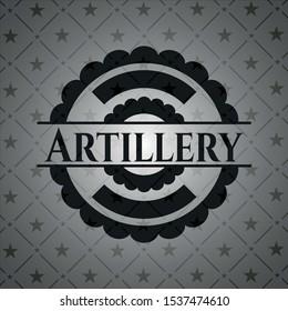 Artillery realistic dark emblem. Vector Illustration. Detailed.
