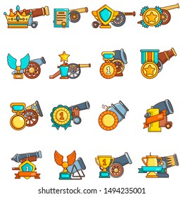Artillery reward icons set. Cartoon set of 16 artillery reward vector icons for web isolated on white background