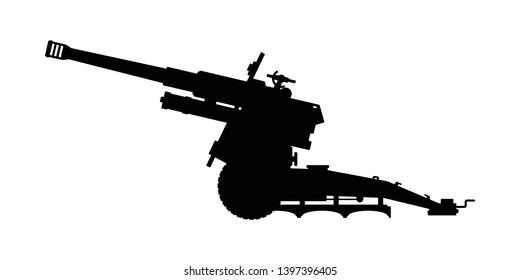 Artillery silhouette vector on white
