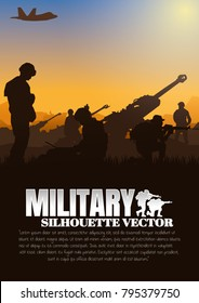 Artillery silhouettes vector illustration, Military vector illustration, Army soldiers, Military silhouettes background.
