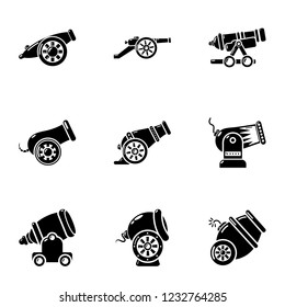 Artillery unit icons set. Simple set of 9 artillery unit vector icons for web isolated on white background