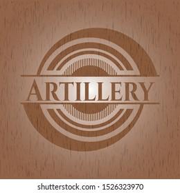 Artillery wooden emblem. Vintage. Vector Illustration.