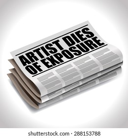 Artis dies of exposure newspaper headline. EPS 10 vector royalty free stock illustration for greeting card, ad, promotion, poster, flier, blog, article, social media, marketing