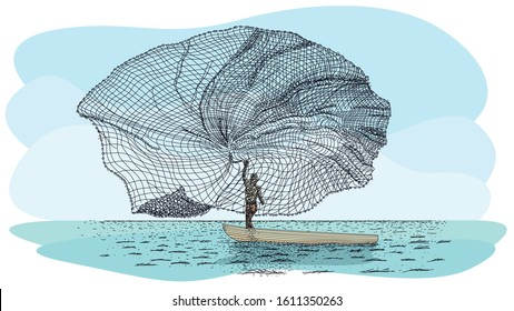 Artisanal fishing technique in river called Atarraya - Fishing net in Spanish language: Silhouette of man on a small canoe throwing the fishing net to the river