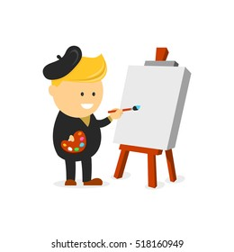 Artist beret  painter vector cartoon flat design character illustration.Artist painter working easel palette flat concept vector template.Character in modern design style. Isolated on white background