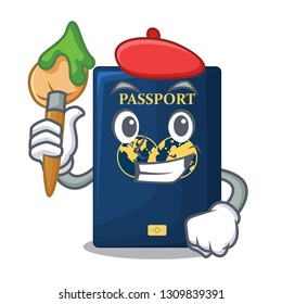 Artist blue passport in the cartoon form