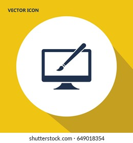 artist brush on the monitor vector icon