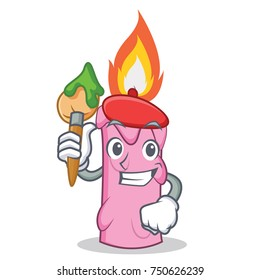 Artist candle character cartoon style