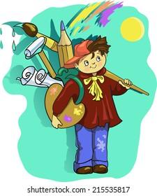 Artist  cartoon boy with  brush.