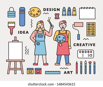 Artist character and art supplies icons arranged around it. flat design style minimal vector illustration.