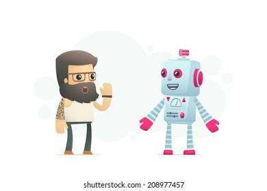 artist communicates with robot. conceptual illustration