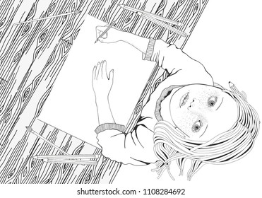 Artist. Cute girl draws pictures. Blank sheet. Mood.  Black and white hand drawn illustration.