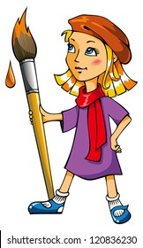 Artist girl with a big paintbrush, vector illustration