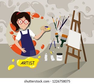 The Artist with her Tools in Studio, Vector Illustration