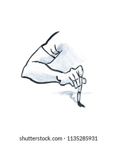 Artist holds the brush. Man's hand drawing on paper illustration isolated on white. Concept of artist, creative person, designer.