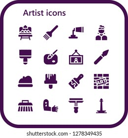 artist icon set. 16 filled artist icons. Simple modern icons about  - Artboard, Brush, Paint tube, Artist, Paint brush, Paint, Painting, Beret, Graffiti, Tattoo, Paint roller