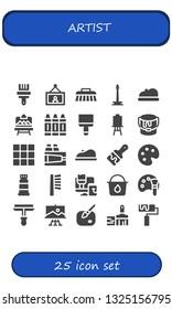 artist icon set. 25 filled artist icons.  Collection Of - Paint brush, Painting, Brush, Monas, Beret, Artboard, Crayon, Canvas, Paint bucket, Palette, Paint, roller, Color palette