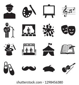 Artist Icons. Black Flat Design. Vector Illustration.