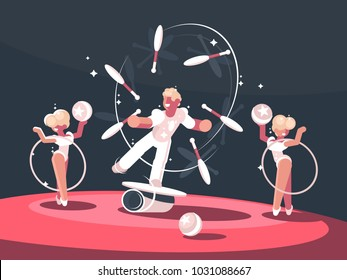Artist juggler in circus arena. Man juggling on stage. Vector illustration