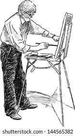 artist in open air