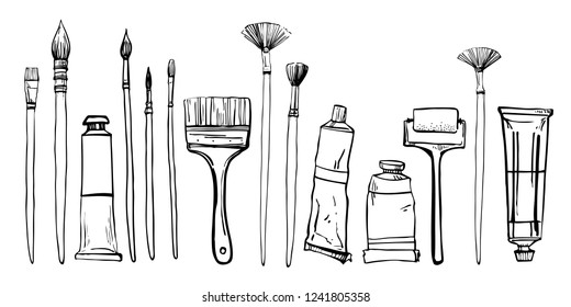 Artist painting materials. Hand drawn stylized sketch vector illustration. Brushes and pain tubes. Black outline grphic on white background