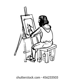Artist painting on canvas. Painter at work easel palette sketch vector illustration.