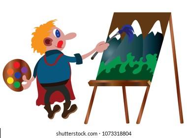 An Artist Paints on a Canvas