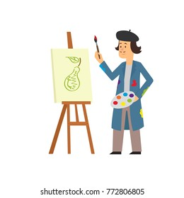 artist paints a picture on the easel with paints. vector illustration