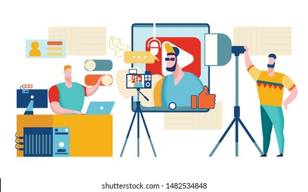 Artist Recording Music in Studio. Rapper Boy, Video Blogger. Online Music. Youtube Video. Singer Content Creator or Vlogger. Blog Management. Musician Getting Money with Youtube. Vector EPS 10.