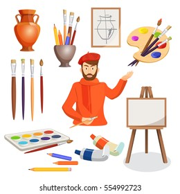 Artist in red clothes and hat in centre of illustration with many artistic elements around. Vector illustration of man, artist palette, paint brushes, picture stand, vase and set of colourful paints