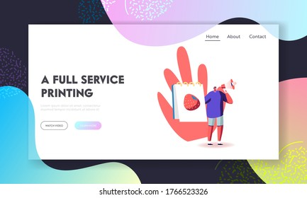 Artist Selling Drawings Landing Page Template. Male Character with Loudspeaker and Painting of Strawberry in Album Offering his Art for Buying, Masterclass Announcement. Cartoon Vector Illustration