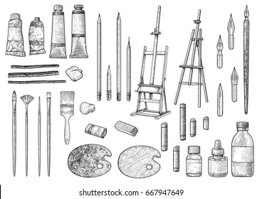 Artist tool collection illustration, drawing, engraving, ink, line art, vector