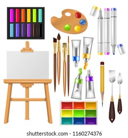 Artist tools vector watercolor with paintbrushes palette and color paints for artwork in art studio illustration artistic painting set brushes or marker pen isolated on white background