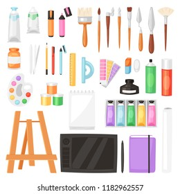 Artist tools vector watercolor with paintbrushes palette for color paints on canvas for artwork in art studio illustration artistic painting set isolated on white background