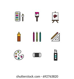 Artist. Vector isolated on white background illustration.Set of vector isolated line filled icons. Pixel Perfect. For web design and presentations, site