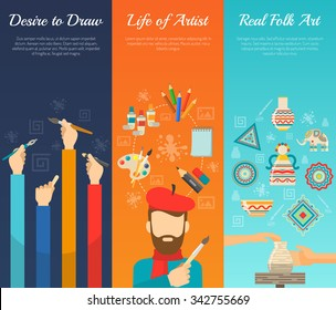 Artist vertical banner set with painter tools flat elements isolated vector illustration