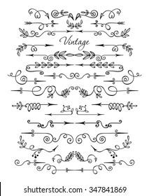 Artist vintage hand drawn arrows. Set of decorative elements. Floral and florid vignettes.