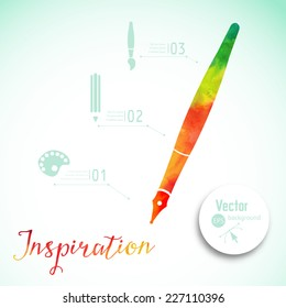 Artist at work. Ink pen, symbol of visual art vector illustration. Creativity concept with colorful pen. Fountain writing pen.