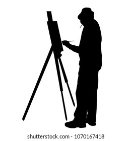 Artist at work silhouette on a white background, vector illustration