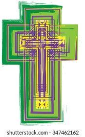 Artistic abstract green, purple and yellow cross, vector illustration