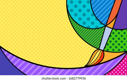 artistic abstract paining with brush and colours Modern colourful pop art background for your text and design. Vector back to school artistic illustration in pop-art comic style.
