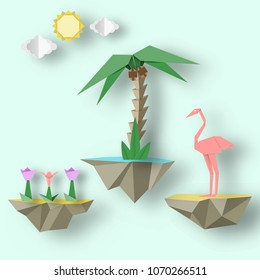Artistic abstract paper origami concept with flying islands on which there are flamingo, palm, flowers. Trendy crafted background. Vector Illustrations Art Design.