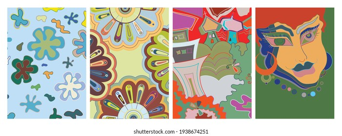 Artistic abstract vector. Poster with fancy curved shapes in graffiti wall style. Cubism art design elements. Modern mystic natural spiritual idea. Futuristic geometry in hand drawing line.