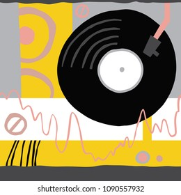 Artistic audiophile seamless background. Hand drawn unusual music abstract pattern. Ready design ideas for for poster, trendy card, invitation, placard, brochure, flyer, presentation and more.