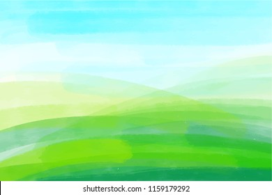 artistic backdrop, vector with brush strokes, watercolor look background with colorful hand painted stains, watercolor minimalistic landscape with green hills and blue sky