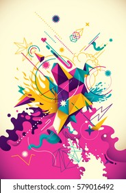 Artistic background with abstract composition, made of various geometric shapes, paths and splashes in intense colors. Vector illustration.