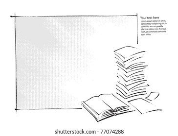 artistic background - book and  sheets of paper icons (simple freehand drawing vector)