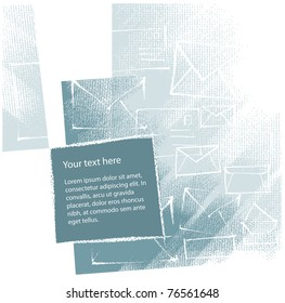 artistic background design (mail-envelopes motive, chalk technique, textured grunge background, vector)