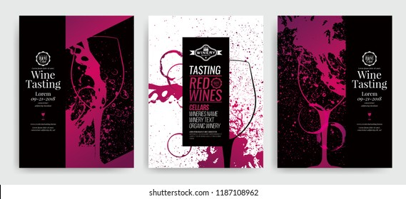 Artistic background for wine event. Idea for painting and wine event promotion. Illustration of wine glass and colorful spots. wine glass silhouette. Vector illustration.