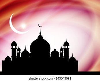 artistic beautiful background with mosque for ramadan and eid. vector illustration